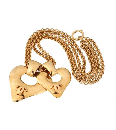 CHANEL 2 HEART CHARM LONG NECKLACE