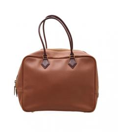 HERMES BROWN BARENIA COURCHEVEL PLUME BAG