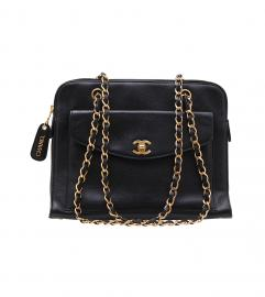 CHANEL BLACK CAVIAR SKIN FRONT POCKET BAG