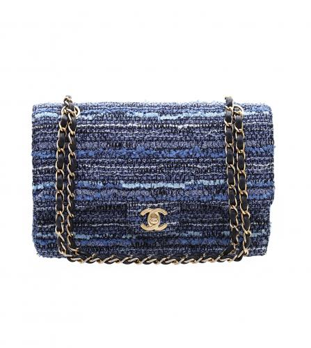 CHANEL VINTAGE 2.55 blue tweed shoulder