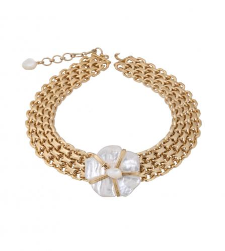 CHANEL NACRE CAMELIA CHAIN NECKLACE