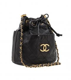 CHANEL BLACK DRAWSTRING BAG