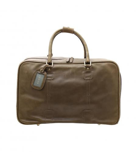 GUCCI VINTAGE HORSEBIT KHAKI LEATHER DUFFLE BOSTON