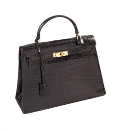 HERMES KELLY SELLIER  BLACK CROCODILE 32