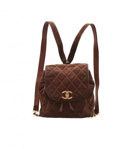 CHANEL VINTAGE BROWN SUEDE BACK PACK