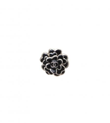 CHANEL VINTAGE BLACK Camellia RING