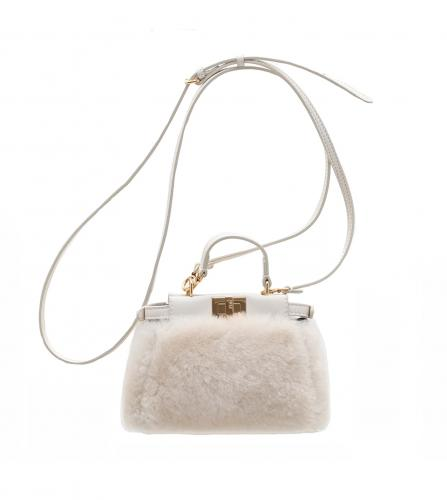 FENDI Micro Peekaboo white mouton shoulder