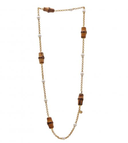 GUCCI BAMBOO PEARL CHAIN NECKLACE
