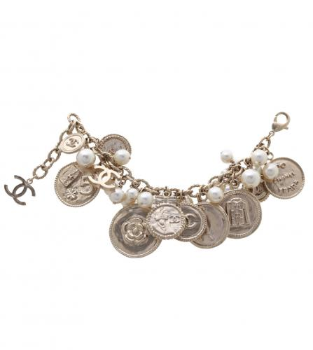 CHANEL 100 Anniversary coins pearl bracelet