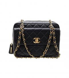 CHANEL BLACK FLAP BAG 28