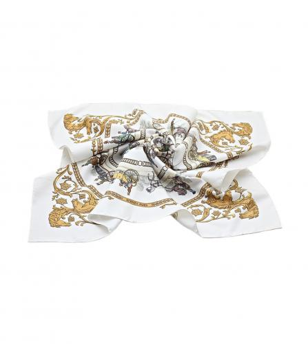 HERMES SILK SCARF LONGCHMP WHITE