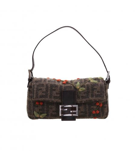 FENDI MAMMA BAGUETTE WOOL CHERRY embroidery BAG