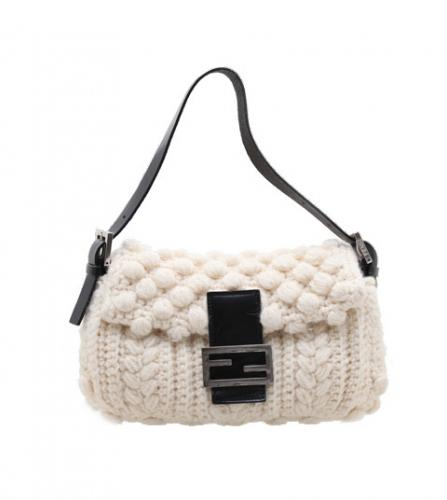 FENDI MAMMA BAGUETTE WHITE KNIT BAG