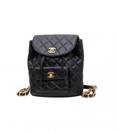 CHANEL BLACK BACKPACK GOLD TONE