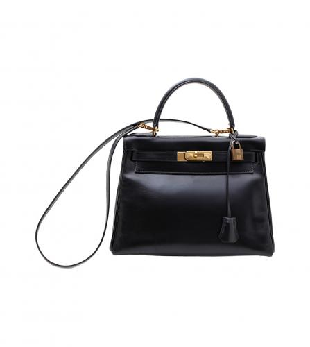 HERMES TWO WAY BLACK BOX CALF KELLY 32