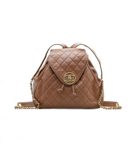 CHANEL VINTAGE CAVIAR SKIN CAMEL BACKPACK