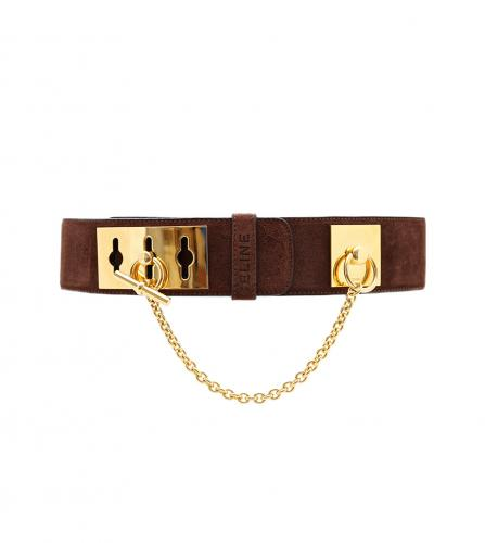 CELINE BROWN SUEDE BELT